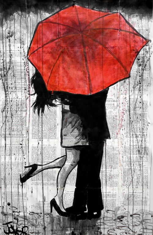 Red umbrella couple painting the image for Painting red umbrella